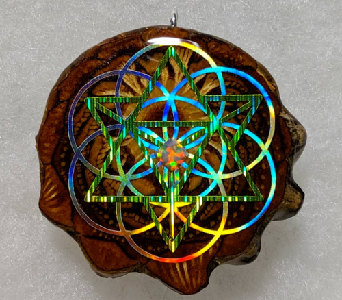 Merkabah over seed of life with square opal