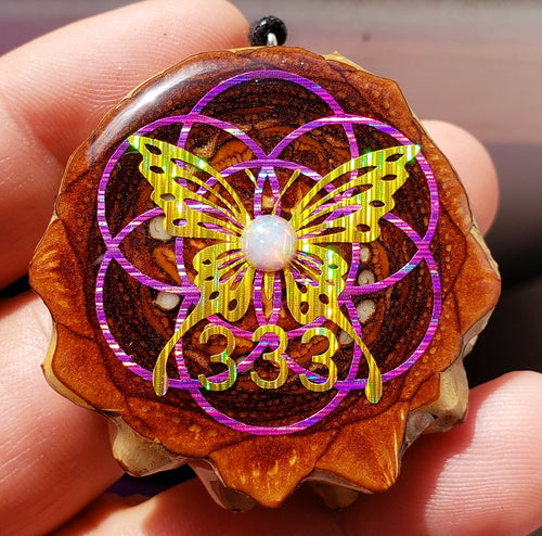 Butterfly over seed of life 333 with opal