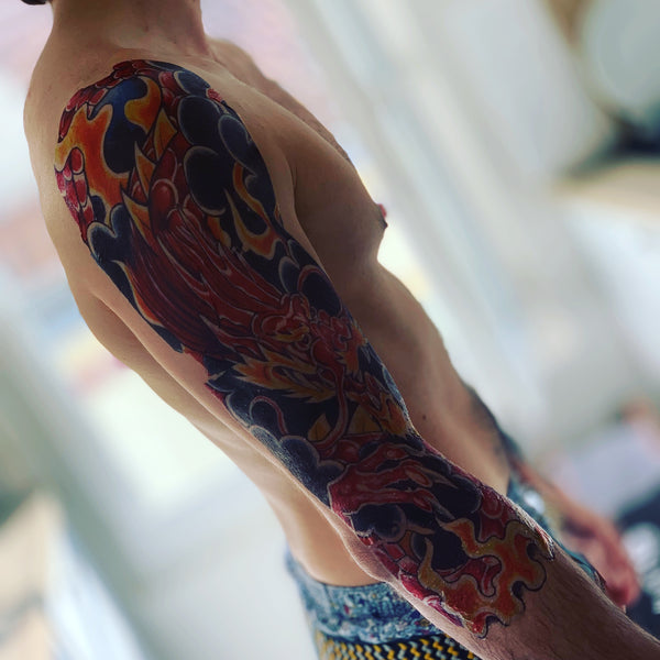 Sleeve Dragon Flames Temporary Tattoo