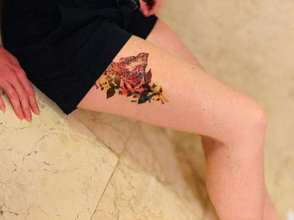 Bird out of Flowers Temporary Tattoo