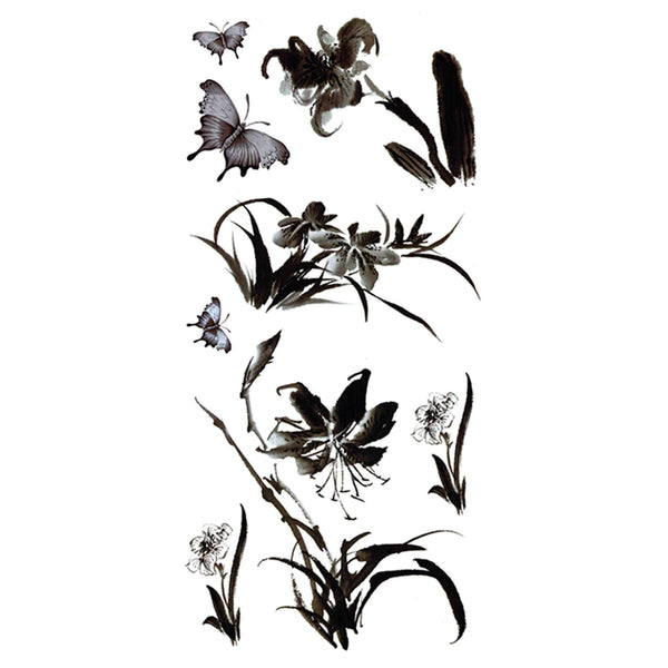 Flowers and Butterflies Temporary Tattoo