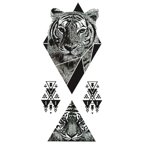 Geometric Tiger Temporary Tattoo