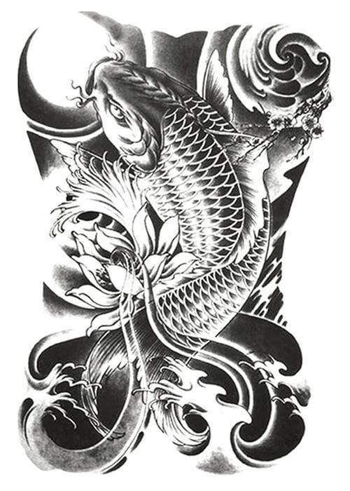 Fish Back Tattoo Temporary Tattoo