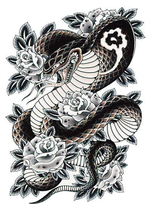 Snake Back Tattoo Temporary Tattoo