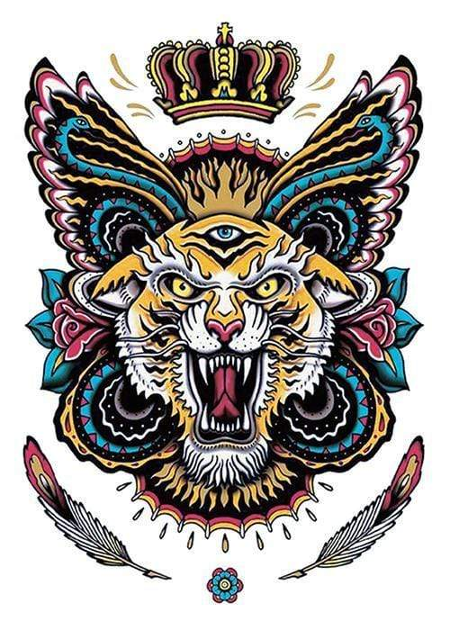 Tiger Back Tattoo Temporary Tattoo