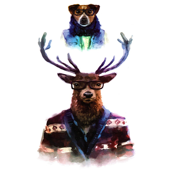 Hipster Deer and Dog Temporary Tattoo