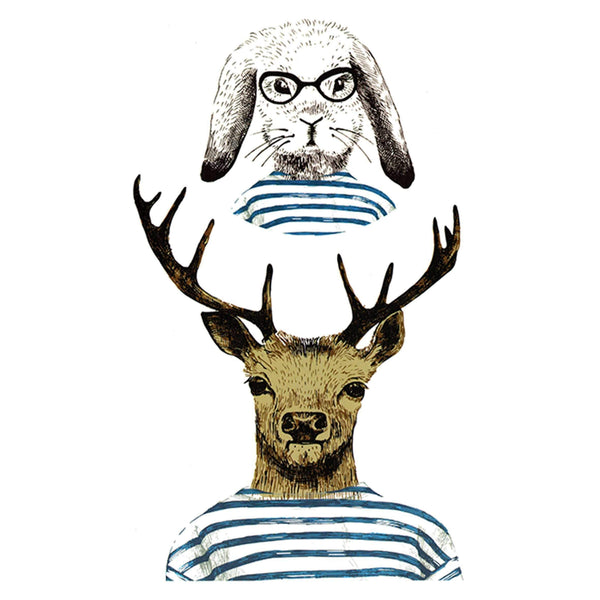 Hipster Deer and Rabbit Temporary Tattoo