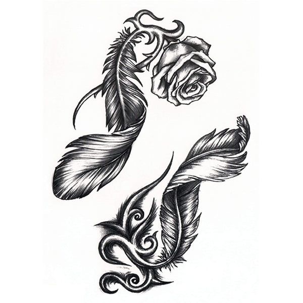 Roses and Feathers Temporary Tattoo