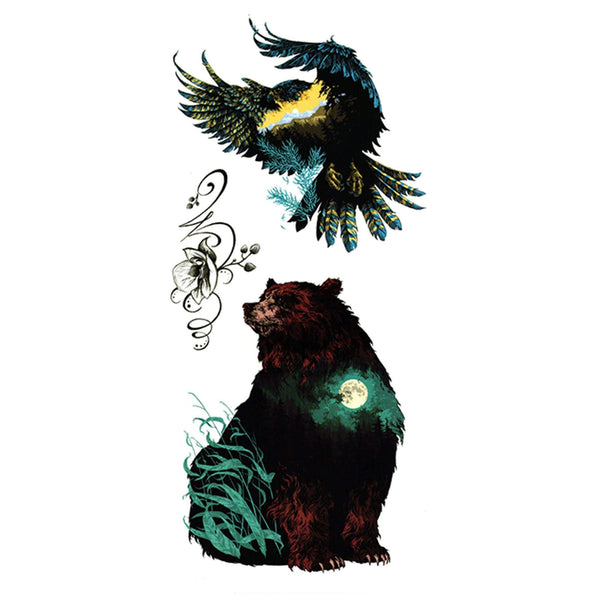 Bear and Eagle Temporary Tattoo