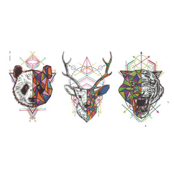Geometric Panda, Deer and Tiger Temporary Tattoo