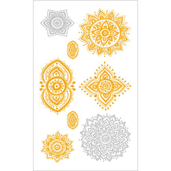 Golden and Silver Mandala Temporary Tattoo
