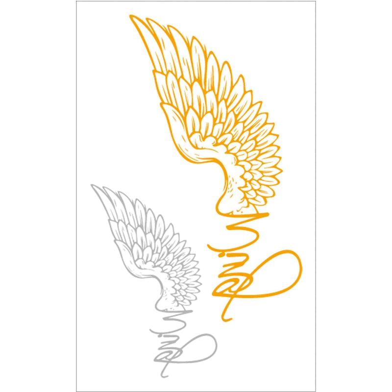 Golden and Silver Angel Wings Temporary Tattoo