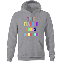 Load image into Gallery viewer, This teacher loves reading - Pocket Hoodie Sweatshirt