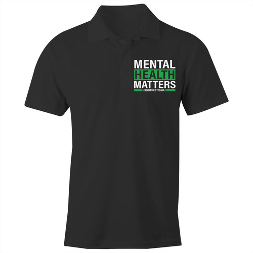 Mental Health Matters #endthestigma - S/S Polo Shirt (print on back of polo and on pocket front of polo)