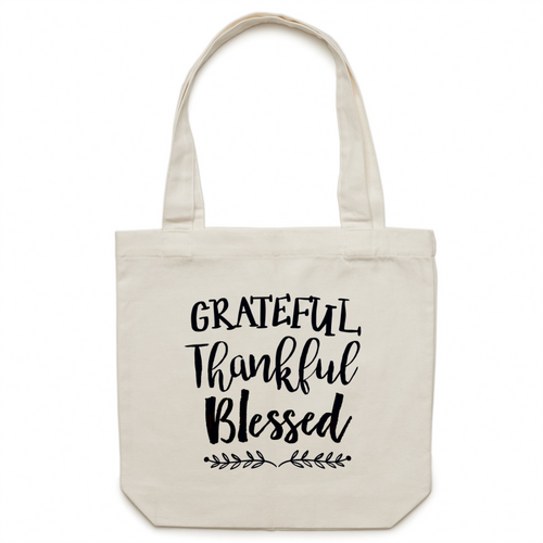 Grateful, Thankful, Blessed canvas tote bag