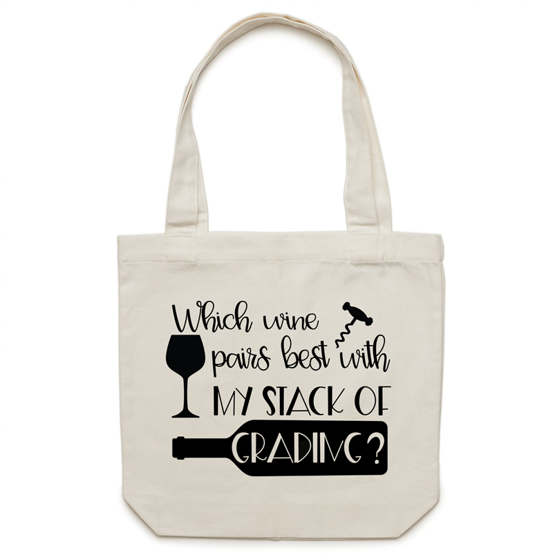 Which wine pairs best with my stack of grading? - Canvas Tote Bag