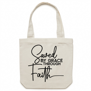 Saved by grace through faith - Canvas Tote Bag