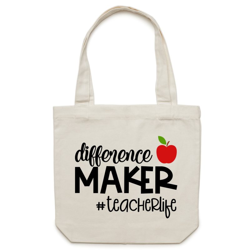 Difference maker #teacherlife - Canvas Tote Bag