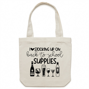 I love stocking up on back to school supplies - Canvas Tote Bag