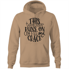 Load image into Gallery viewer, This teacher runs on coffee and grace - Pocket Hoodie