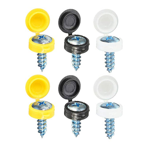 "Self-Tapping Number Plate Screws (3/4"") inc Caps"