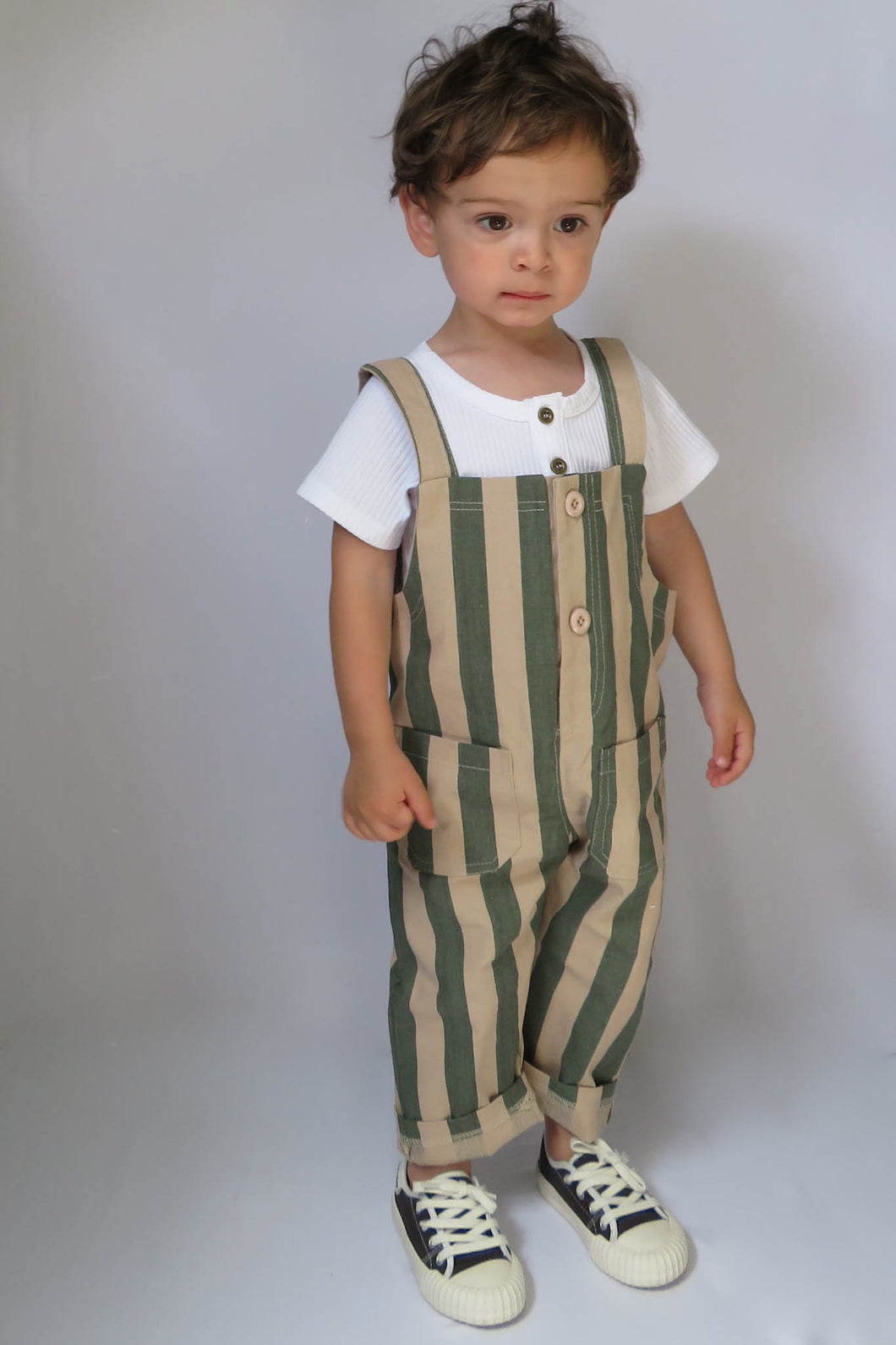 Green Striped Overalls