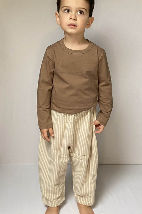 Cream Striped Trousers