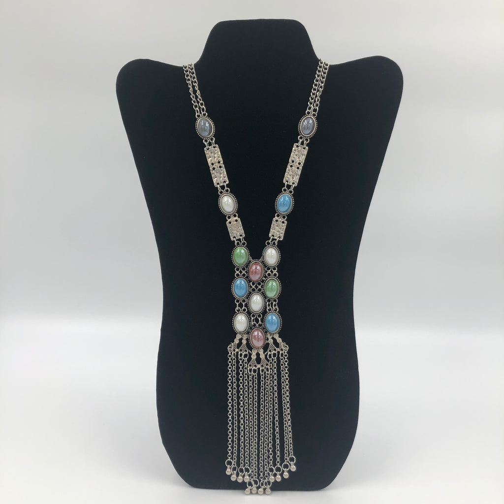Long Multicolor Stone Necklace