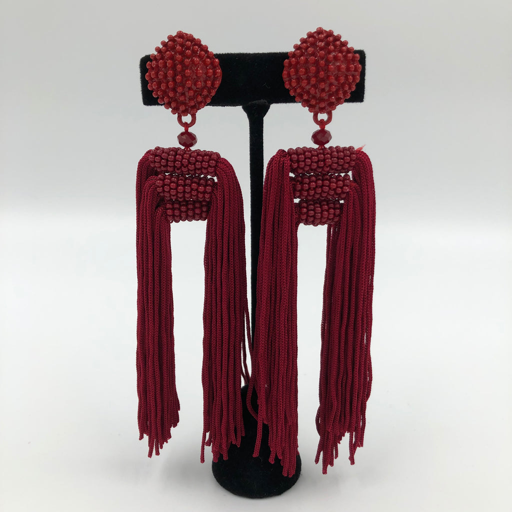 Long Red Tassel Earrings