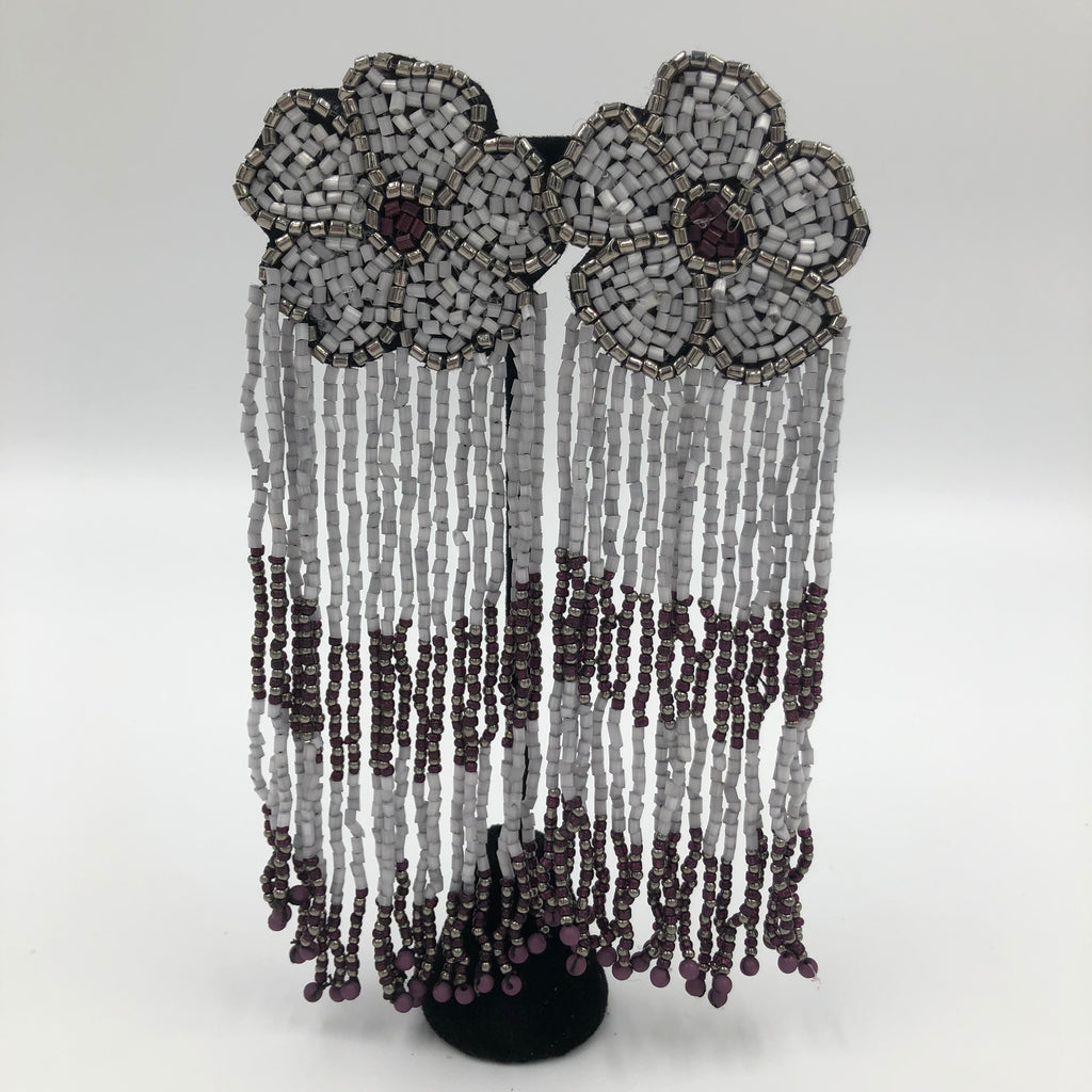 Grey Beaded Waterfall Flower Earrings