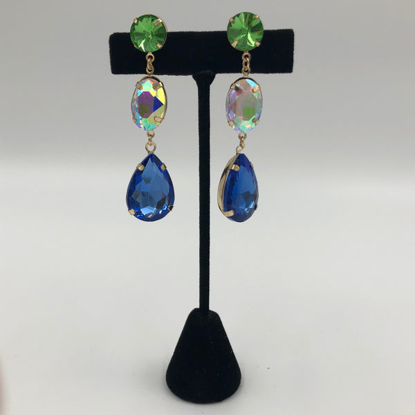 Green Crystal with Blue Teardrop Earrings