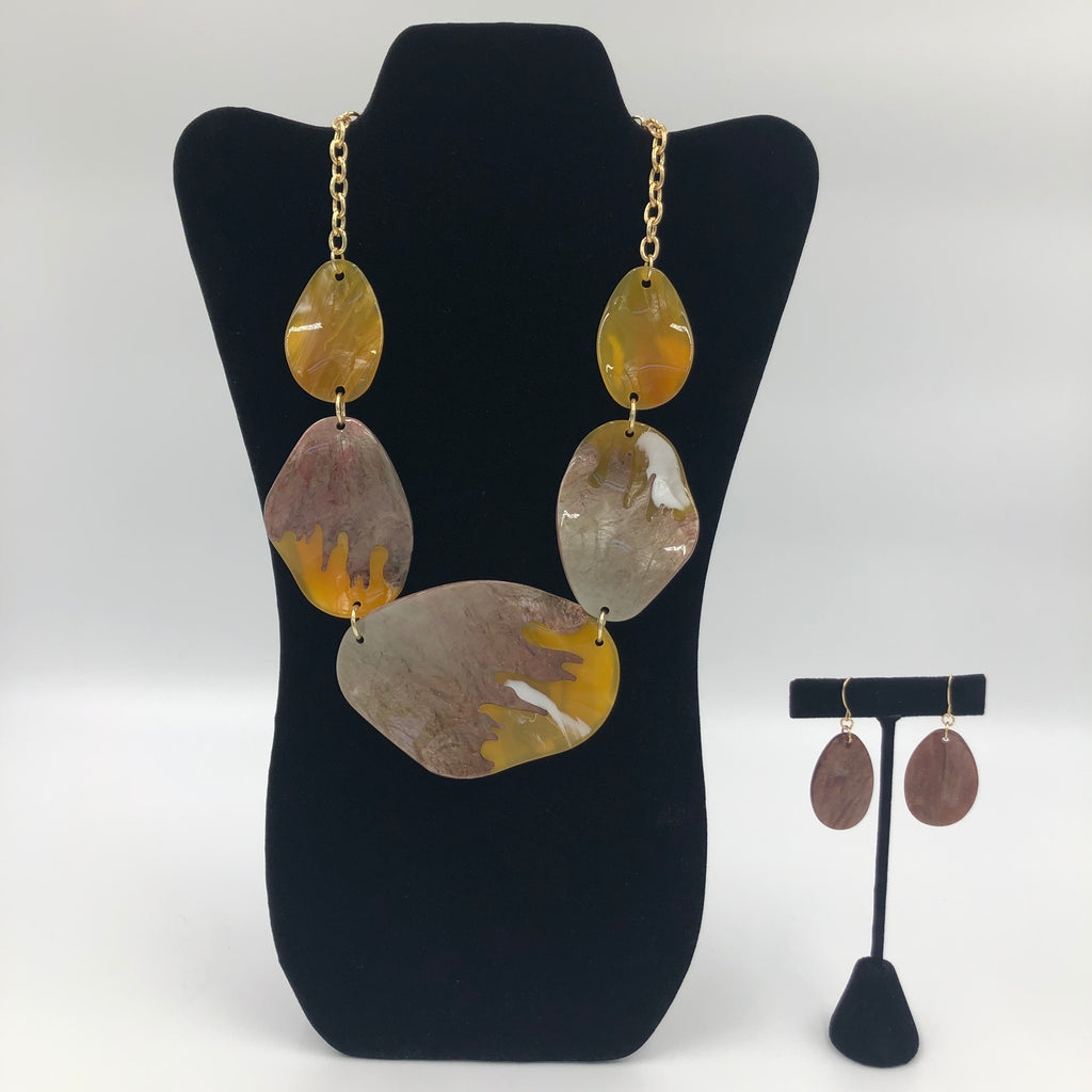 Mustard Gemstone Necklace Set