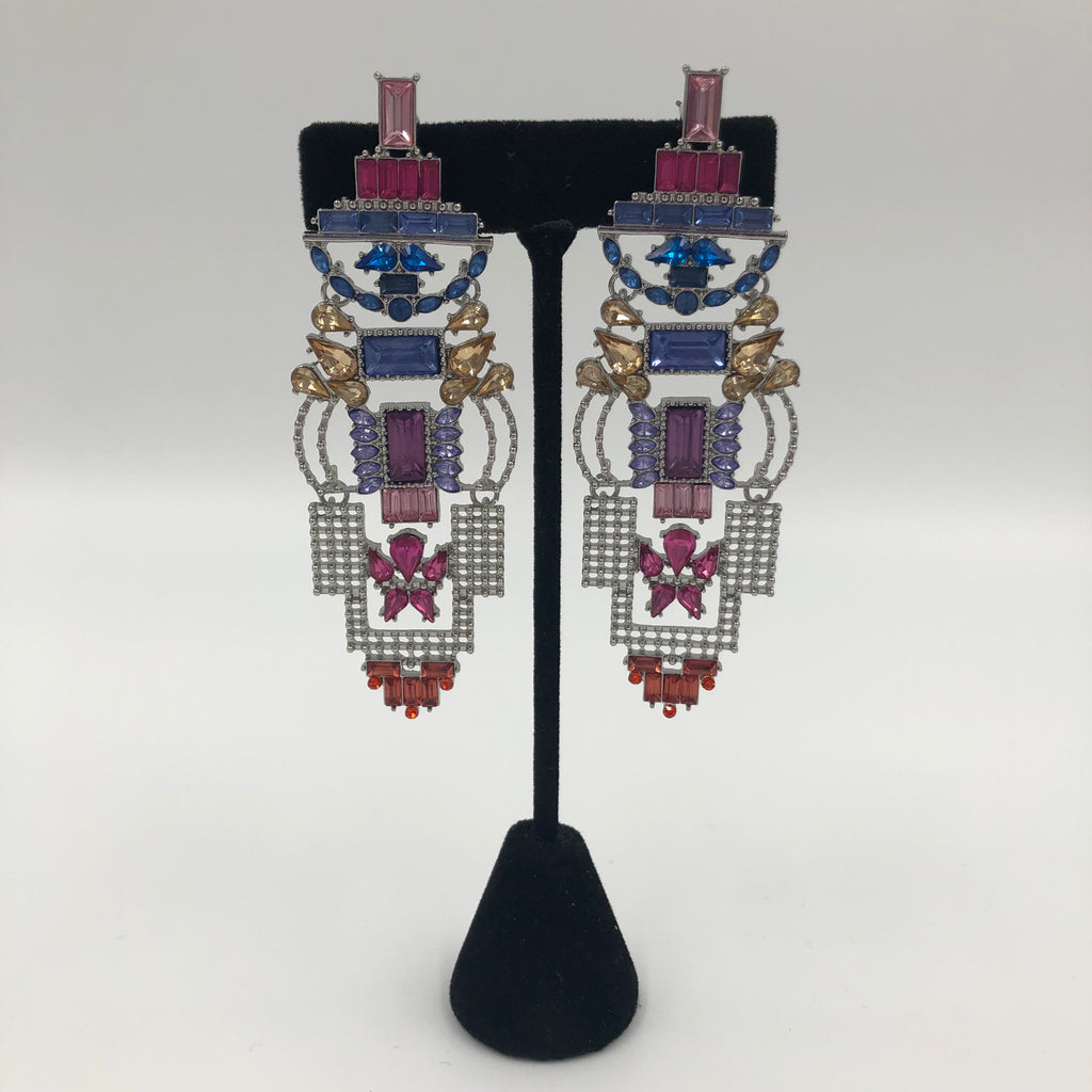 Aztec Glam Multicolor Crystal Earrings