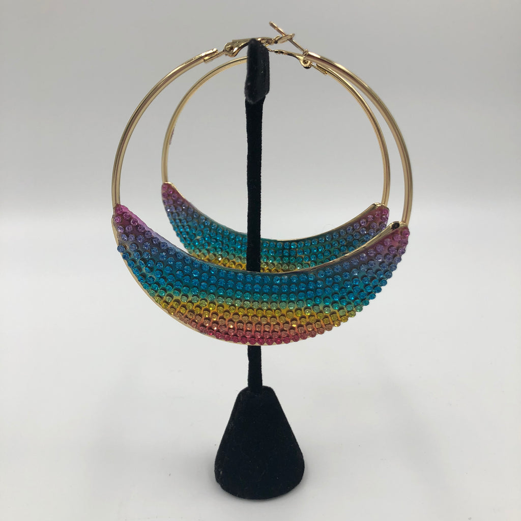 Rainbow Half Moon Hoop Earrings