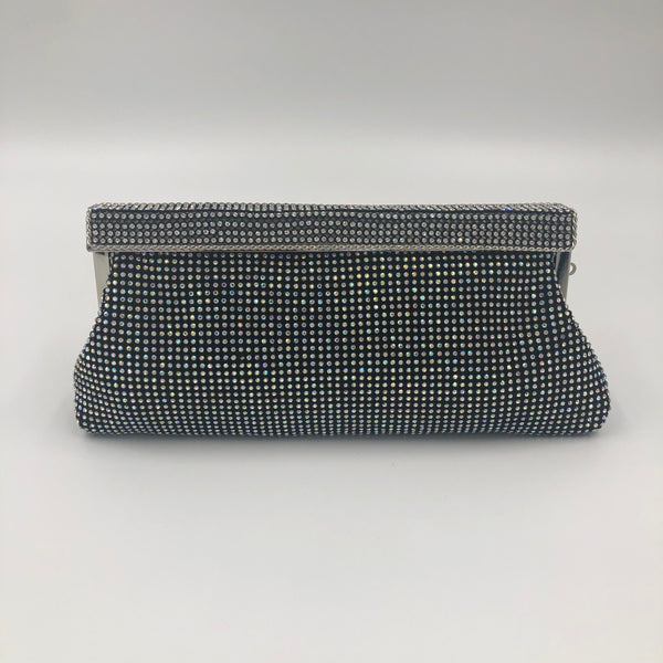 Silver Crystal Black Clutch