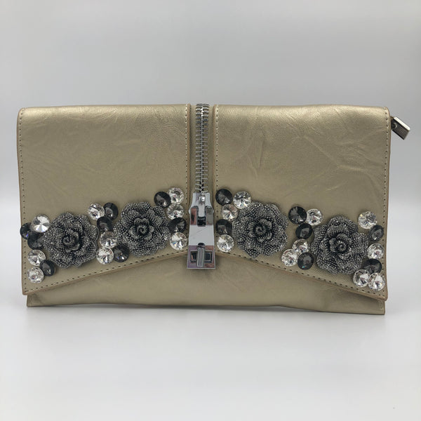 Flower Gold Crystal Clutch
