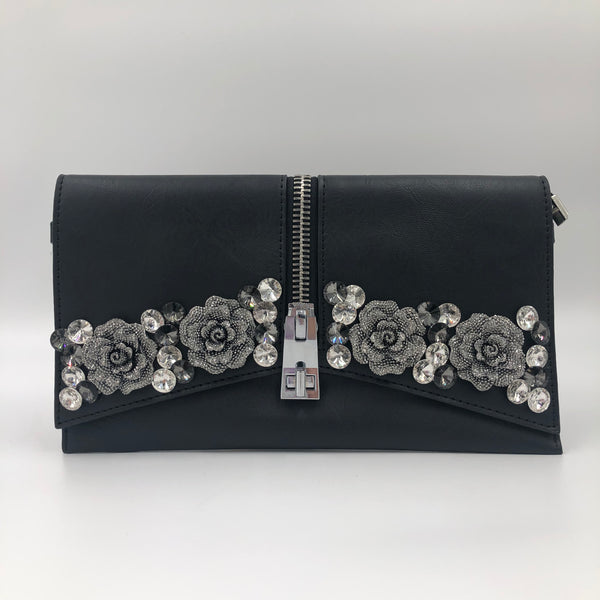 Flower Black Silver Crystal Clutch