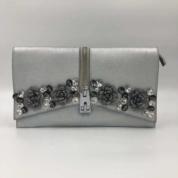 Flower Silver Crystal Clutch