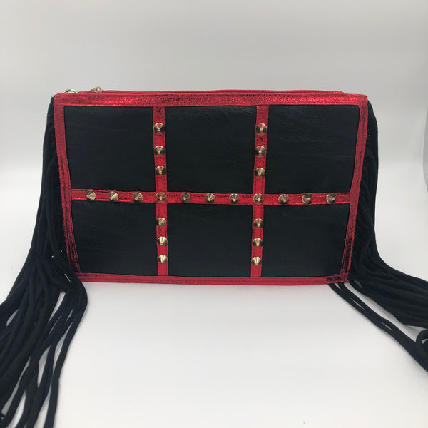 Red Studded Clutch With Fringe