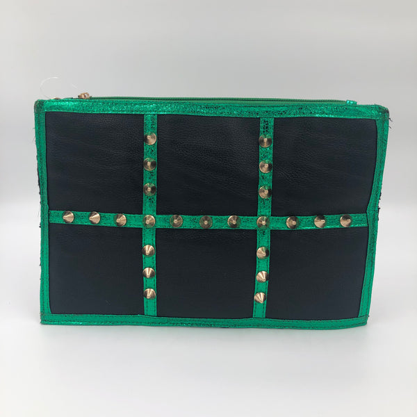 Black Green Studded Clutch