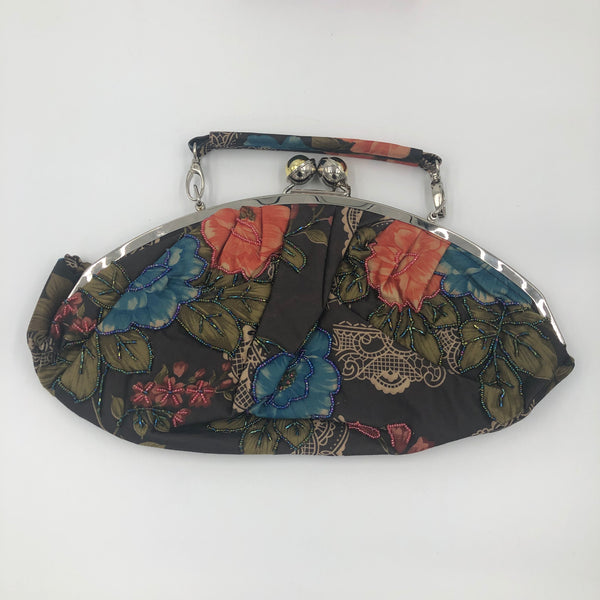 Black Multicolor Flower Handbag