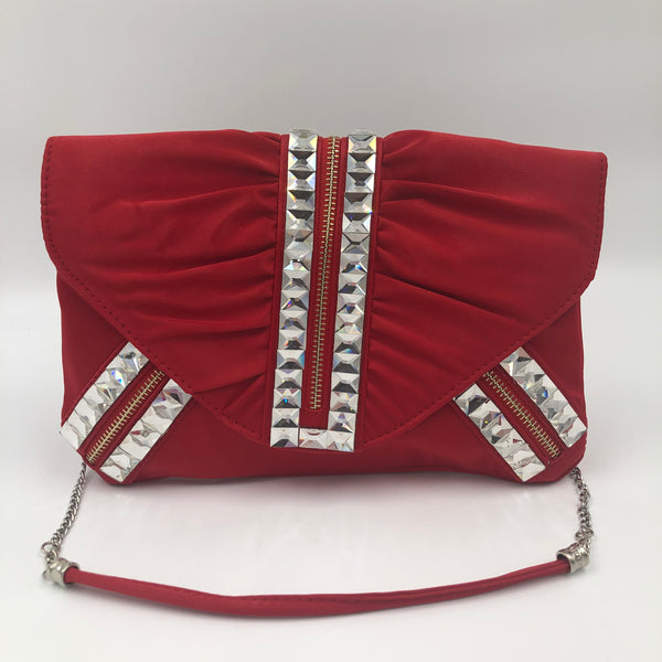 Red High Fashion Crystal Clutch