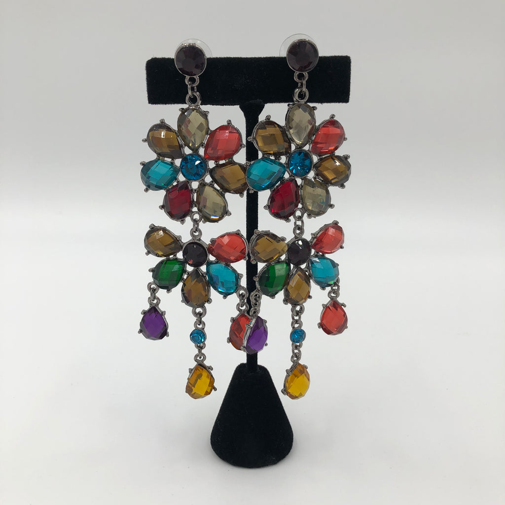 Multicolor Double Tier Flower Earrings