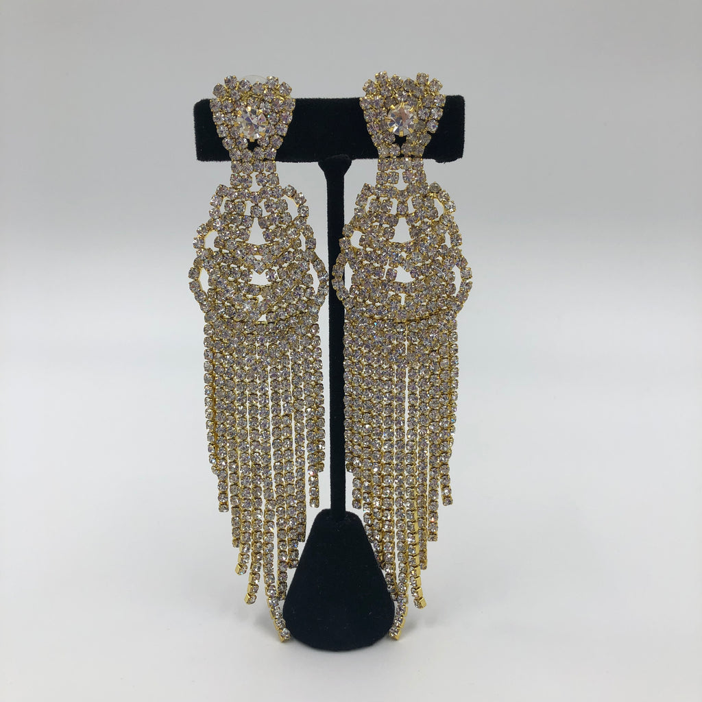 Gold Crystal Cascade Earrings