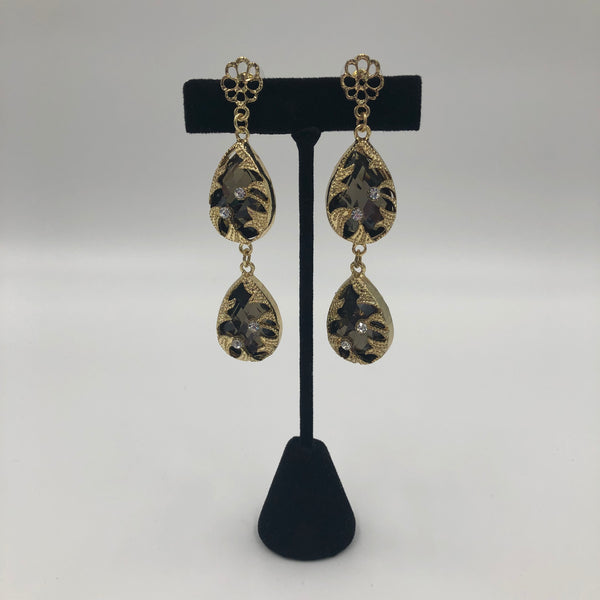 Black Stone Double Tier Earrings