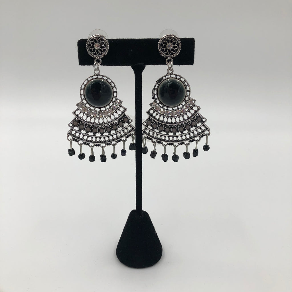 Black Stone Fan Earrings