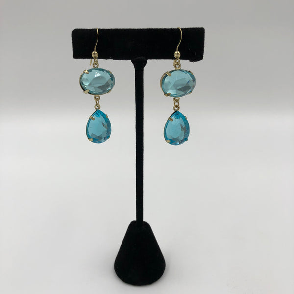 Aqua See-Through Stone Tear Drop Earrings