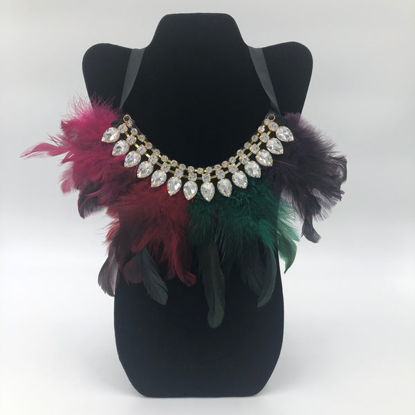 4 Color Feather Necklace with Crystals