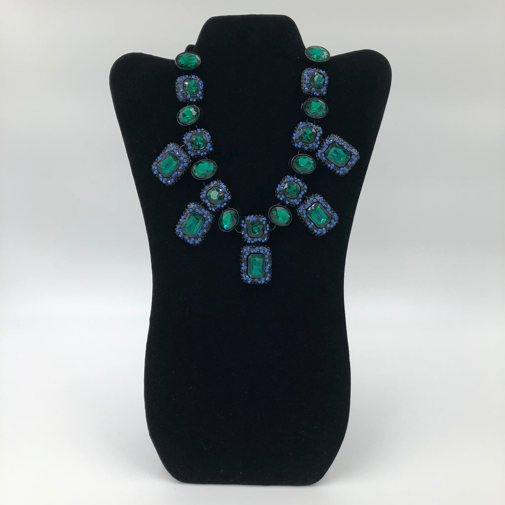 Blue and Green Crystals Necklace