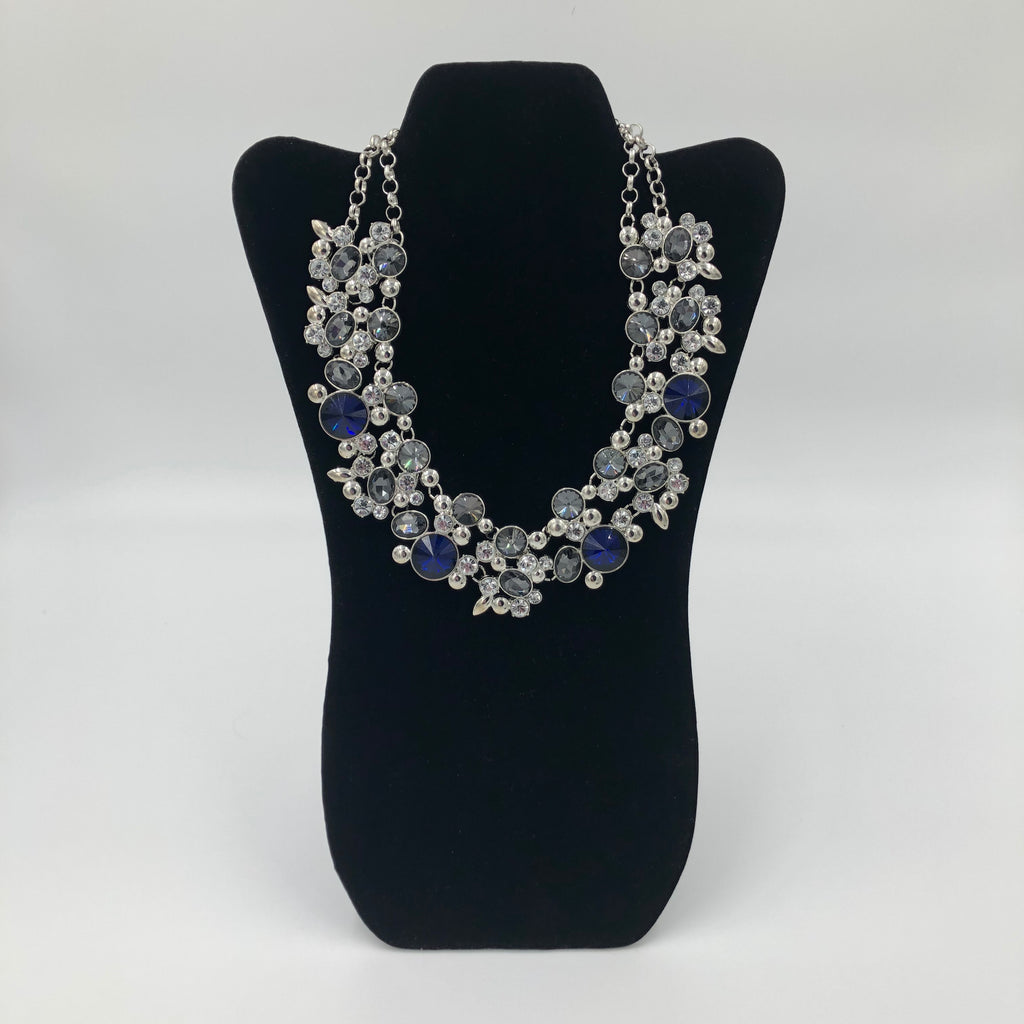 Blue and White Crystals Necklace